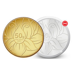 Amrapali Blossom Gold Coin With Free Silver Coin, 50 gm