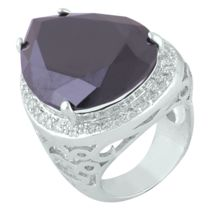 Shaze Silver-Colored Rich Black Ring