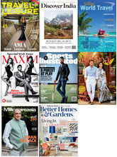 (TRAVEL+ LEISURE) + (DISCOVER INDIA) + (SELLING WORLD TRAVEL) + (MAXIM) + (SPORTS ILLUSTRATED) + (ASIA SPA INDIA) + (MILLIONAIRE ASIA) + (BETTER HOMES & GARDENS), (English, 1 Year)