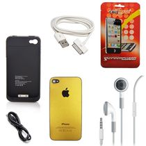 Callmate Combo Screen Guard, Earphones, Iphone 4S Charging Cable & Charging Case, Charging Cable