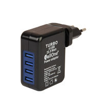 Callone Usb Travel Charger 4 Hub 4.5 Amp,  black