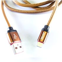 Detec Brown Leather USB 2.5 A Type - Lightning - Data Charging Cable
