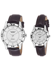 Laurels Silver Color Analog Couple's Watch With St...