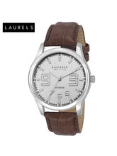 Laurels Veteran Silver Dial Men Watch (Lo-Vet-202), brown, silver