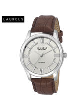 Laurels Veteran Silver Dial Men Watch (Lo-Vet-201), silver, brown