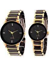 Hele Iik Analog Designer Black Gold Watch For Couple