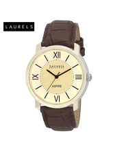 Laurels Aspire Ivory Dial Men Watch (Lo-Asp-101), brown, beige