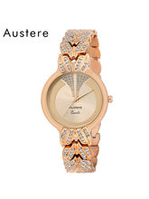 Austere Signature Rose Gold Dial Women Watch (WSN-171717)