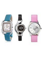 Oleva Ladies Multicolor Set Of 3 Leather Watches (OSC-49)