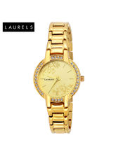 Laurels Mystic Gold Dial Women Watch (LL-Mst-102), gold, gold