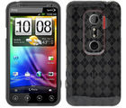 Amzer Luxe Argyle High Gloss TPU Soft Gel Skin Case - Smoke Grey - HTC EVO 3D (Smoke Grey)