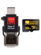 Strontium 128GB Micro SD 466x NITRO UHS-I microSDXC card with Type-C Card Reader