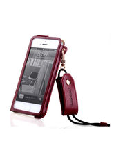 Callmate Hang Rope Synthetic Leather Case for iPhone 4/4S with Free Screen Guard, brown