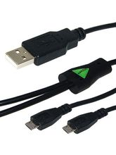 Amzer USB to Dual Micro USB Y Splitter Twin Charging Handy Cable, black