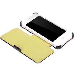 Rock Dancing Series Side Flip Leather Case for iPhone 5, standard-white pink