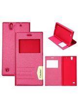Casotec Premium Caller-id Flip Case Cover with Invisible Magnet Closurefor Sony Xperia C4 - Pink