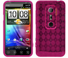 Amzer Luxe Argyle High Gloss TPU Soft Gel Skin Case - Hot Pink - HTC EVO 3D (Hot Pink)