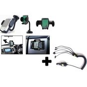 Callmate 360 deg Car Mobile Holder+ 6 in 1 car charger with iPhone connector Combo,  black