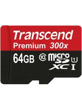 Transcend Premium 64GB MicroSDHC Class10 UHS-1 Memory Card with Adapter 45 MB/s (TS64GUSDU1)