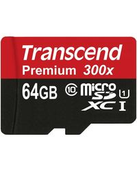 Transcend Premium MicroSDHC Class10 UHS-1 Memory Card with Adapter 45 MB/s (TSGUSDU1), multicolor
