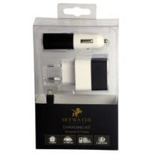 Skywater Travel Charger: 1 USB port Output: 2.4A & Car Charger: 1 USB port Output: 2.4A,  black