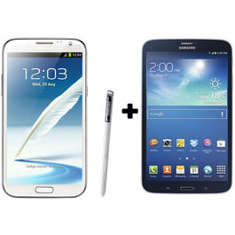 Hdfc Samsung Galaxy Note2-White+ Galaxy Tab3 8 GB with Premium Headset Combo, midnightblack