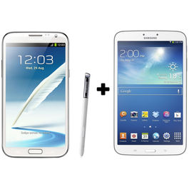 Hdfc Samsung Galaxy Note2-White+ Galaxy Tab3 16 GB with Premium Headset Combo,  white