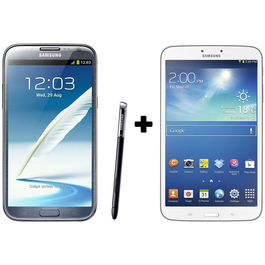 Hdfc Samsung Galaxy Note2-Grey+ Galaxy Tab3 8 GB with Premium Headset Combo,  white
