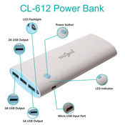 Callmate 20000 mAh CL-612 Power Bank, multicolor