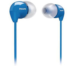 Philips Dynamic Bass Compact Earphones with Soft Caps (SHE3590), blue