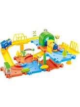 Saffire Classic Toy Train Set 15 with Upper and Lower Level, Bridges and Tunnel, multicolor