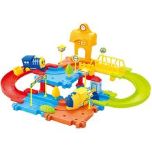 Saffire Block Train Set with Upper and Lower Level and Bridge, multicolor