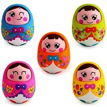 Saffire Push And Shake Wobbling Roly Poly Tumbler Doll With Soft And Sweet Bell Sounds, multicolor