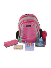 Bleu School Bag Ideal for Kids, pink and light grey