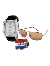 Chappin & Nellson gents Watch with Cooper Sunglass and a stylish letheraitte Wallet– CNG-16W, white, black