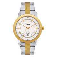 Timex ¬ â €   Classic Analog Silver Dial Men's Watch-G910, steel gold, silver