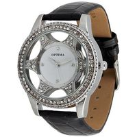 Optima Women Silver Plated Watch (OPT-9052-SWB), black, white