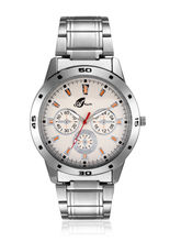 Arum Silver White Dial Metal Analog Watch