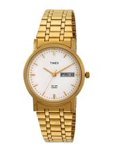 Timex White Dial And Golden Strap Analog Watch For Men - A503