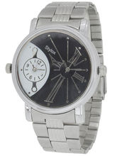 Stylox Casual Round Analog Watch for Men, silver, black