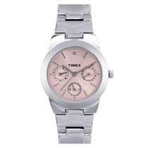 Timex ¬ â €   Analog Pink Dial Women's Watch-J100, silver, pink
