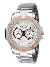 Exotica Men Water Resistance Fashion Watch, white, silver