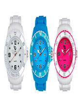 Chappin and Nellson AnalogFuschia-Blue and White Combo Watches For Women