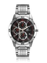 Arum Silver Black Dial Metal Analog Watch