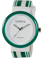 Women Geneva Plastic Watch (GR-01-White-Green)
