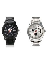 Mens 2 Stainless Steel Watches In Black And Silver Straps, multicolor, multicolor