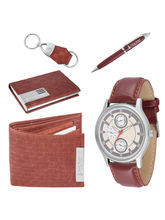Ferry Rozer Brown Combo Gift Set of Watch, Wallet, Card Holder, Key Chain & Pen