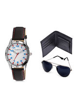 Vicbono Men's Analog Watch and Wallet and Sunglasses Combo - VB2-102-CWS, white, black