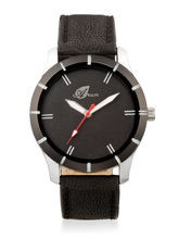 Arum Analog Black Dial With Black Leather Strap Me...