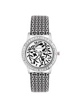 Laurels Flower Analog White Dial Women's Watch-Lo-...